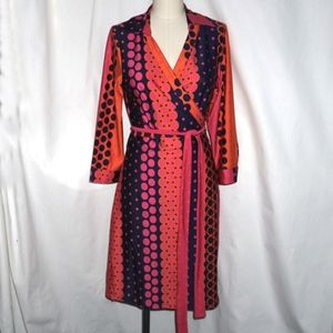 NWT JULIE BROWN MILO retro hot color wrap dress M